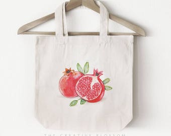Pomegranate Fruit - TOTE BAG; Cotton Canvas ; Watercolor Painting ; Accessory