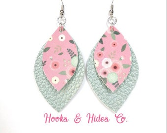 Mint Pearl/Poppy Double Leaf Earrings | vegan earrings, faux leather, leaf earrings