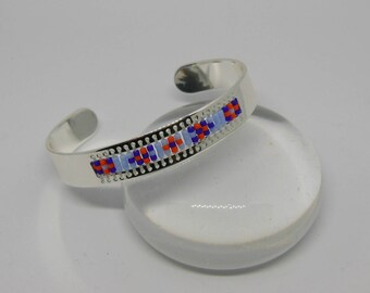 Silver Bangle and beads - blue indigo and orange