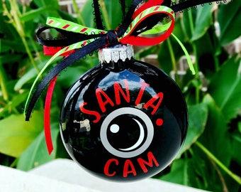 Santa camera ornament, glass santa ornament, santa cam ornament, santa surveillance system, elf camera, North Pole camera, santa spy system