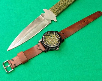 Handmade leather Watch Strap Horween Natural Dublin  skin Color cognac, 24mm, 22mm, 20mm, 18mm, 047