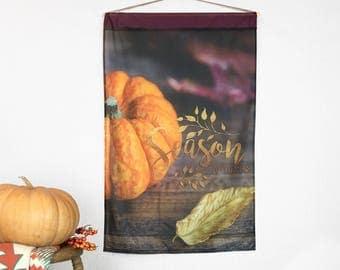 Pumpkin Fall Porch Decor, Modern Farmhouse, Thanksgiving, Rustic Decor, Fall Sign, Housewarming Gift, Farmhouse Style Wall Hanging, Flag
