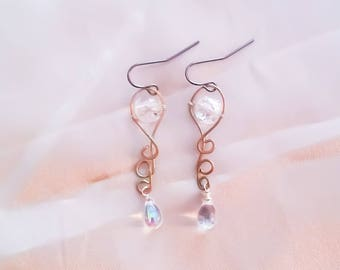 Swirly Beaded Drop Earrings