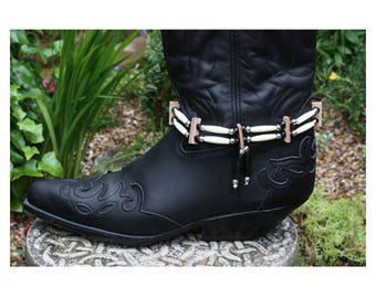 Native American style bone hair pipe choker boot straps, Indian style black white bead boot straps cowboy western biker festival boot straps