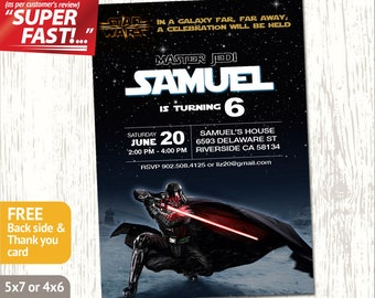 STAR WARS INVITATION, Darth Vader Invite, Star Wars Party Invitation, Star Wars Birthday Invite, Star Wars Invite, Darth Vader Birthday, v1