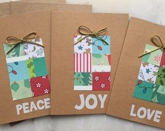 Christmas Gift Card Set - Peace Card, Joy Card, Love Card, Christmas Gift, Handmade Christmas Card Set