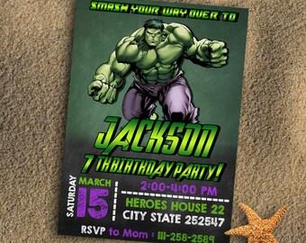 Hulk Birthday Party Invitations/Hulk Birthday Party Supplies/Hulk Birthday Invitation/Hulk Birthday Invites/Hulk Birthday Party/Hulk