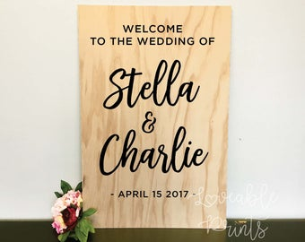 Welcome Wedding Sign   Wedding Signs   Wood Signs   Custom Wood Signs   Timber Sign   Engagement Sign   Party Signage