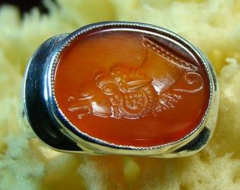 Carnelian Intaglio Seal Ring Silver 925 Unique.