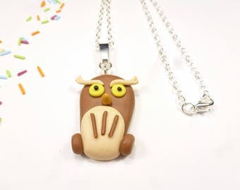 OWL necklace polymer clay Brown OWL kids gift idea