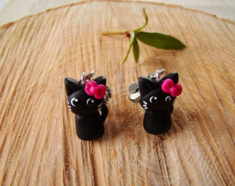 Clip earrings black polymer clay - animal jewelry - children jewelry - kids gifts - cat clip on earrings for girls
