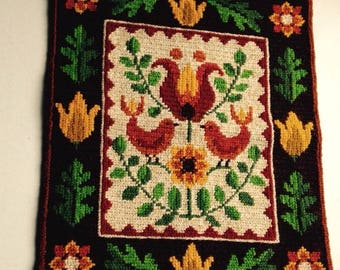 Vintage Swedish Embroidered Tapestry - Birds and Flowers