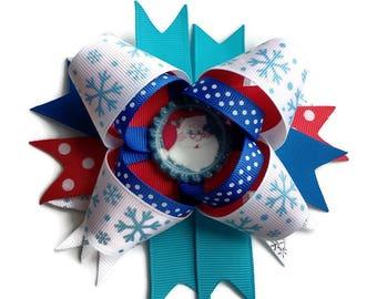 Santa Hair clip ~ Large stacked Santa Hair Bow ~Christmas Party Spiked boutique bow ~ Xmas OTT Hair bow hair bow ~ Xmas hair accessories