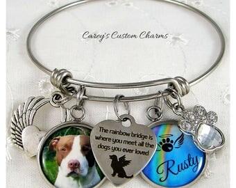 Rainbow Bridge Pet Memorial Custom Photo Charm Bracelet, Personalized Name, Pet Loss Sympathy Jewelry Gift, Rhinestone Paw, Loss Dog Puppy