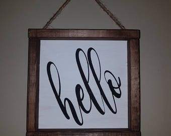 Hello Handcrafted Wood Sign