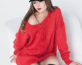 Fuzzy knit pullover Red plus size knit pullover Plus size clothing  Fuzzy sweater Red Designer clothing Off shoulder Plus size