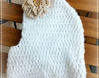 Raw color balaclava with handmade wool flower