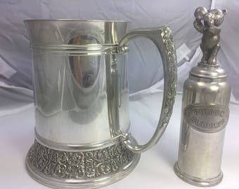 Unboxed Royal Selangor Malaysian Pewter Christening Tankard and Picnic Bubbler.  Beautiful Fusion of East & West.