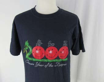 Vintage 90s Chinese Year Of The Dragon T Shirt Navy Size Large Made In USA