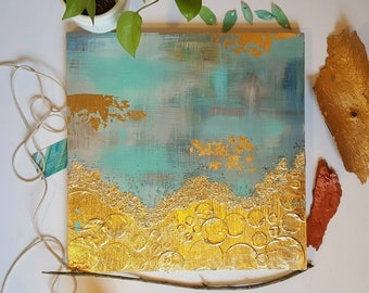 Sunrise in the Nest. Acrylic and gold leaf. Abstract expressionist painting. Original Modern art. Robin's Egg Blue, gold, and tan.