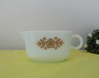 Vintage Pyrex Gravy Boat Butterfly Gold Milk Glass Retro