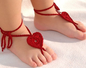 Baby barefoot sandals, crochet baby barefoot sandals, gladiator sandals, heart sandals, gift idea, beach, summer, decoration on the foot
