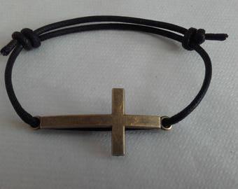 Gothic black cord bracelet