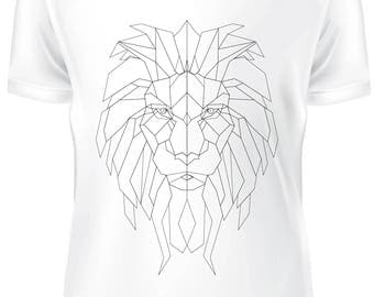 White T-shirt - Lion low poly black and white - B-WD-018