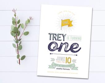 Boy First Birthday Invitation Boy 1st Birthday 1st Birthday Boy Invitation Printable DIY Custom Birthday Party Invite