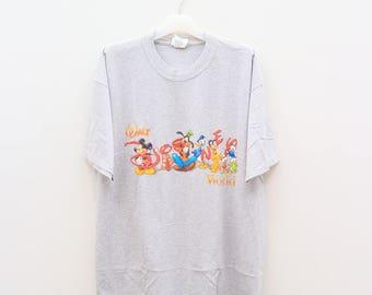Vintage MICKEY MOUSE Walt World Disney Cartoon Animation Gray Tee T Shirt Size L