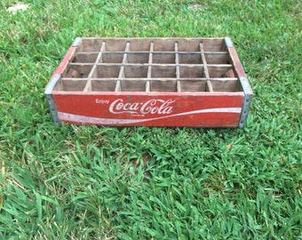 Vintage Coca Cola Coke Crate. Advertising. Solid Wood Red & White. Individual Bottle Slots. Enjoy Coca Cola!