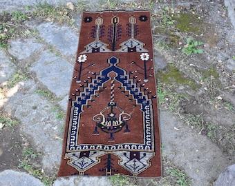 Small Size Decorative Vintage Turkish Rug 1.6 x 4.6 feet Bohemian Wool Rug Floor Rug Home Decor Rug Free Shipping Aztec Rug Boho Rug Code71