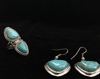 Treated Turquoise Nature inspired Earrings and Ring Set