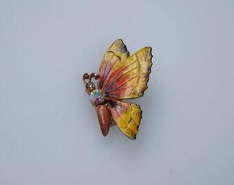Vintage Original by Robert Yellow Orange Enamel Rhinestone Butterfly Pin