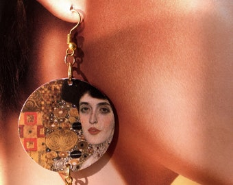 "KLIMT, earrings in paper and hard stone, ""Portrait of Adele Bloch-Bauer I"", Art and painting, original gift."