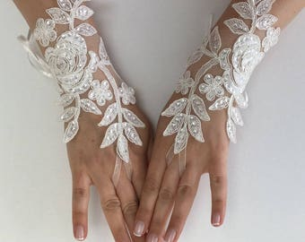 EXPRESS SHIPPING Wedding gloves beaded pearls White or Ivory  bridal gloves lace gloves fingerless gloves french lace gloves