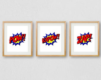 Boys Print, Childrens Wall Art, Superhero PRINTABLE, Superhero Print, Cartoon Print, Kapow Wall Art, PRINTABLE Wall Art, Boys Bedroom Print