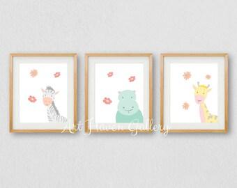 Childrens Prints, Set of 3 Nursery PRINTABLES, Nursery Wall Art, New Baby Gift, Animal Print, Baby Room Wall Art, Baby Animals Wall Art