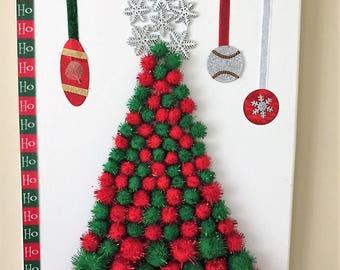 Red and green pom poms christmas tree mixed media canvas art #christmastreewallart #christmastreecanvas #11x14christmascanvas #xmasdecor
