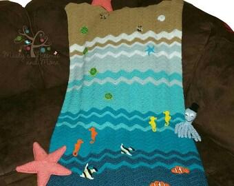 Crochet Ocean Crib Blanket (Blanket only)