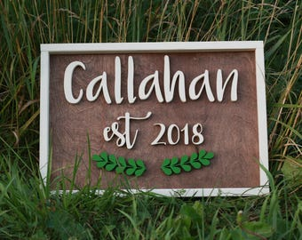 "13.5"" x 19.5"" Custom Family Name EST. Sign w/ Rustic Frame"