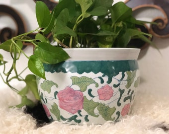 Vintage Pink and Green Chinoiserie Ceramic Planter