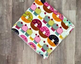 Large Donut Swaddle Blanket -  girls Nursery - donut Receiving blanket - donut Baby blanket cupcake Flannel Blanket - baby Food blanket