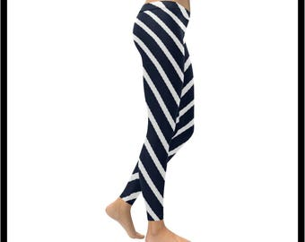 Nautical Life Navy Blue and White Strip Low Rise Leggings