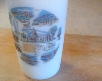 Vintage Federal White Milk Drinking Glass Souvenir Advertising Wyoming Rawlins