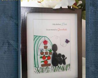 Grandparents Day present, Grandparents Anniversary, Grandad's or Granny's birthday gift, Pebble Art Picture, Unique Personalised Custom made