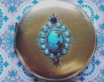 Antique 1900s rolled gold, turquoise and ruby paste good lucks locket
