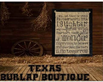 them be little Hearts Laughter Grow wings Nurture sense of wonder Love like no tomorrow Burlap Country Music Vintage Chic Wedding Wood Signs
