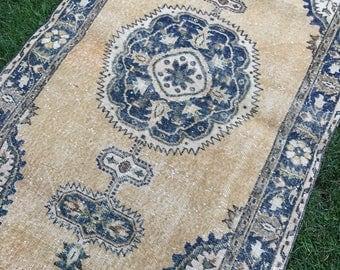"""Pila oushak rug,vintage rug.3""""5x6""""9ft.home desing rug,hallway interior rug,, area deco rug,blue rug."""