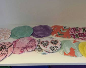 Reusable/Washable Nursing Pads, Breast Feeding, Set of 4 Pairs of Pads